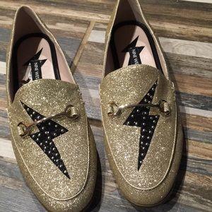 Nine West Gold Glitter Lightning Bolt Loafers